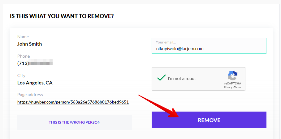 How to remove a profile from Nuwber.com