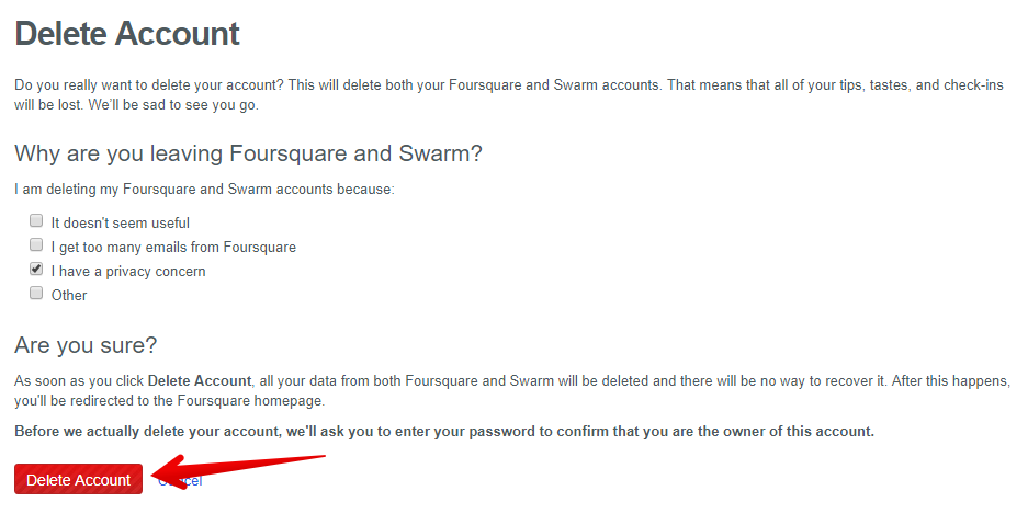How to delete Foursquare account