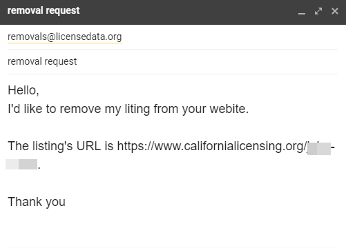 Email your removal request