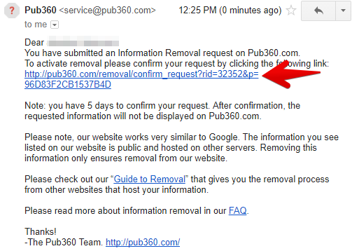 confirm your removal request from pub360.com