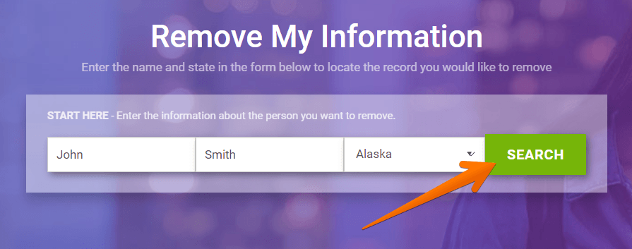 Enter your first name and last name, choose the state and click 'Search'