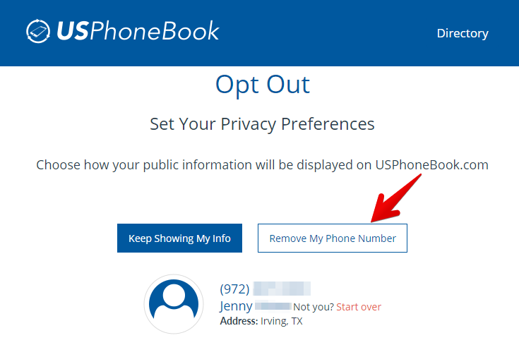 remove your records from usphonebook.com