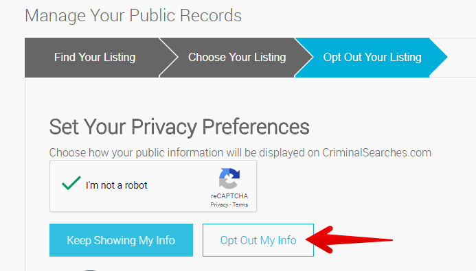 how to remove records from criminalsearches.com