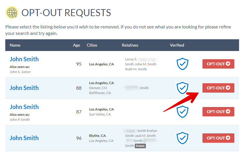 How to remove personal records from checkpeople.com