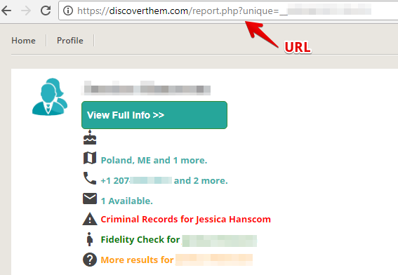 copy the URL of the profile that contains your information