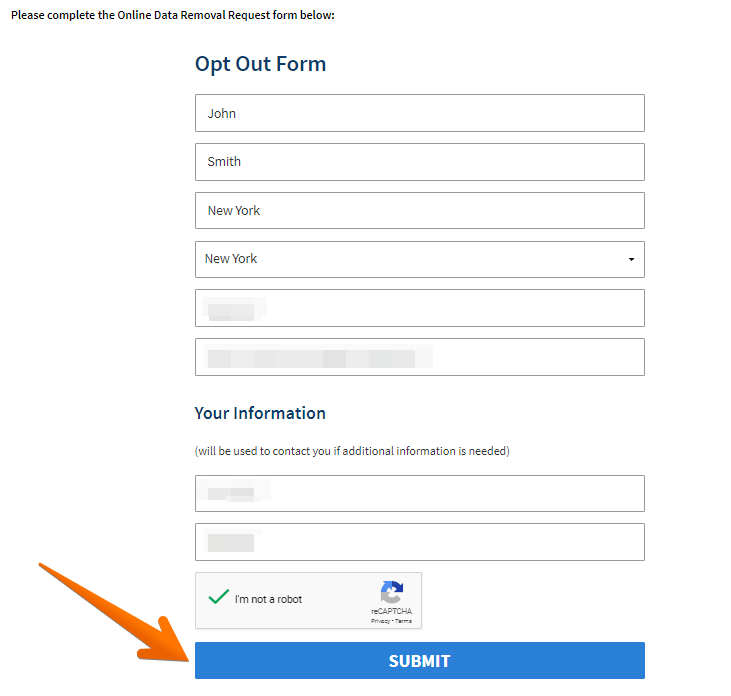 Submit the removal request by entering your first name, last name, city (optional), select state, record ID, full URL (optional). Provide your email address and phone number. Solve CAPTCHA and click 'Submit'.