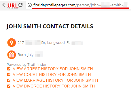 copy the url to remove records from floridaprofilepages.com