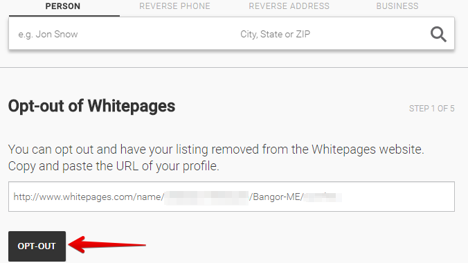 paste the link of the profile you want to remove from whitepages.com