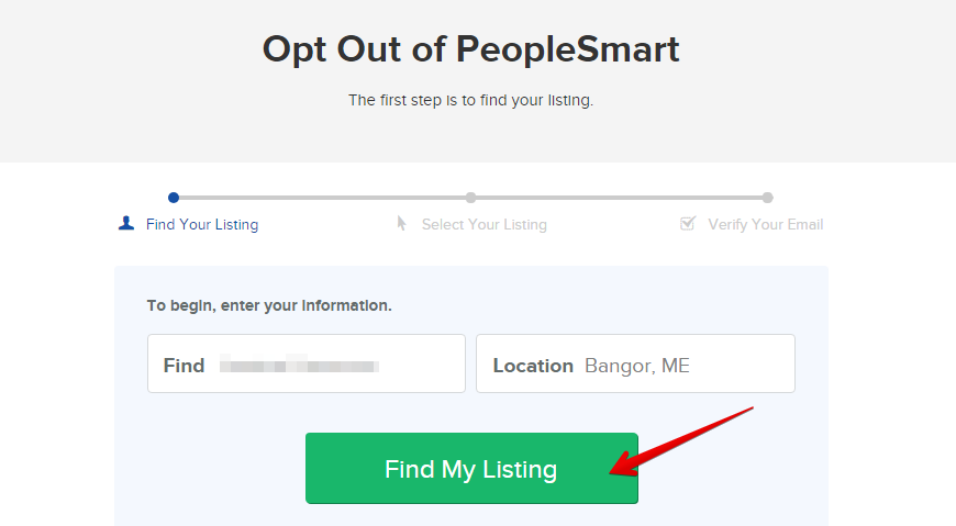 first step to remove your data from peoplesmart.com