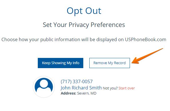 Usphonebook Com Remove Opt Out Information Onerep