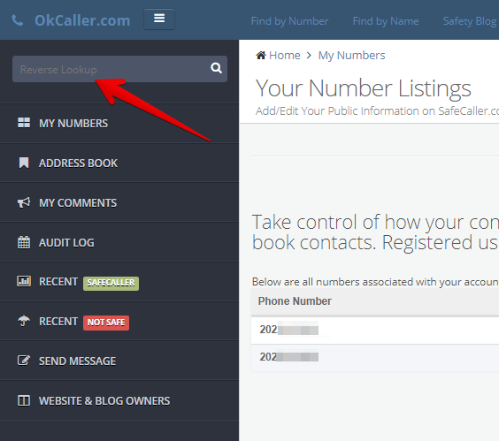 how to remove records from okcaller.com
