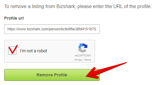 remove your page from bizshark.com