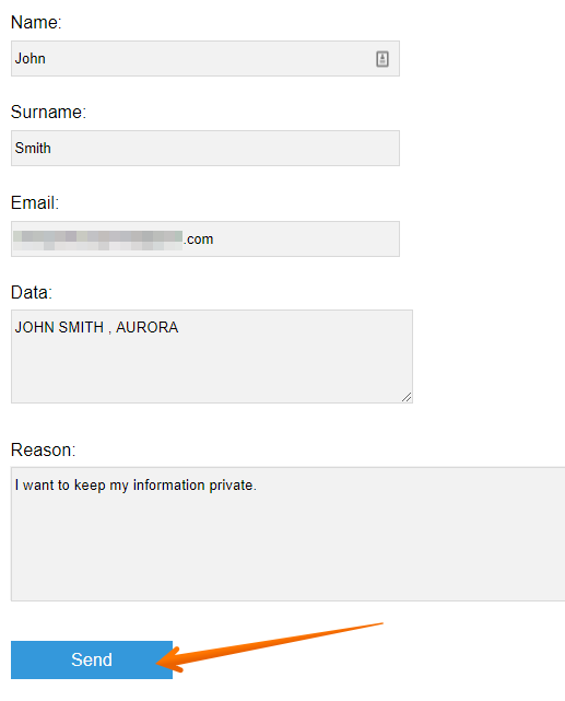 Fill out the requested removal form and click on 'Send'