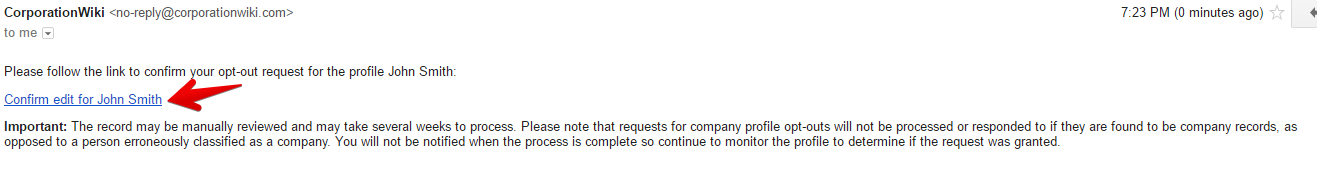 follow the link to confirm you opt out request from corporationwiki.com