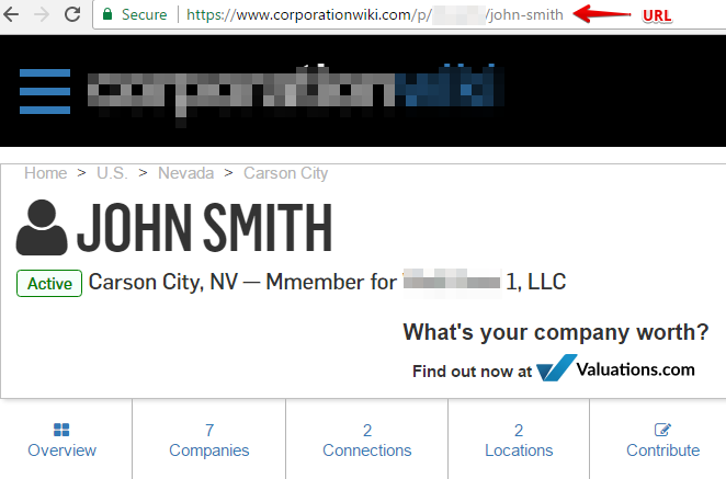 copy the url of your page on corporationwiki.com