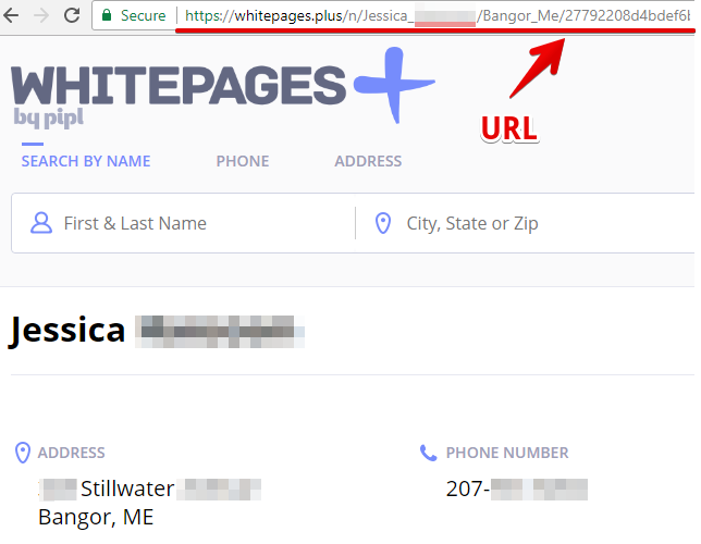 copy the URL of your profile to be removed from whitepages.plus.com