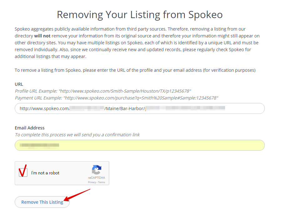 remove the listing from spokeo