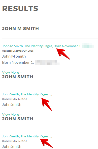 find your profile on theidentitypages.com
