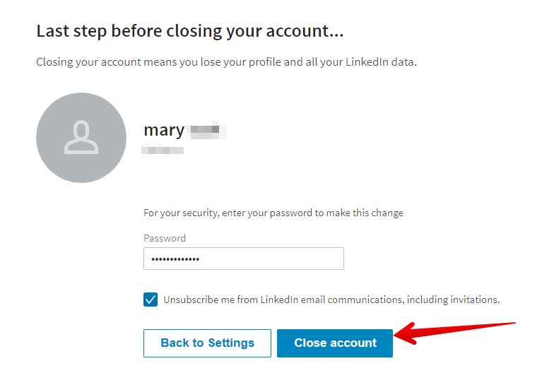 how to close LinkedIn account