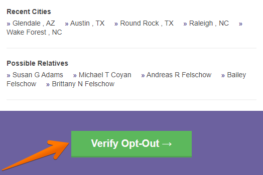 Click on the 'Verify Opt-Out' button