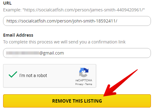 How to remove records from socialcatfish.com