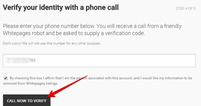 type your phone number to remove yourself from whitepages.com