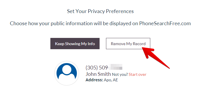 how to remove personal records from phonesearchfree.com